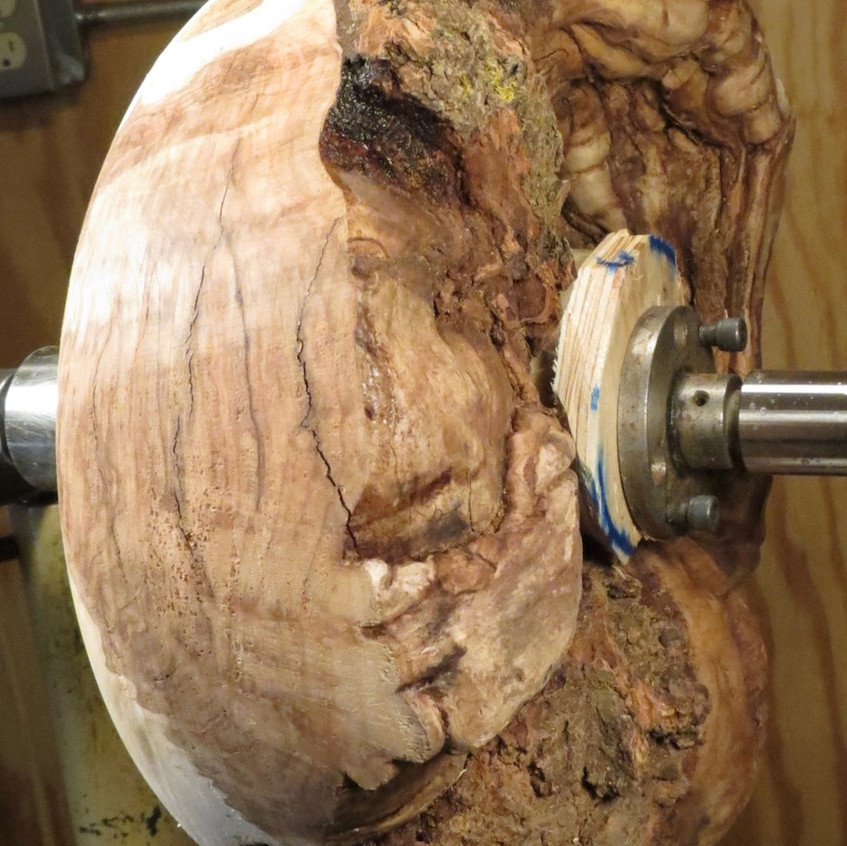 Burl Attached to Lathe