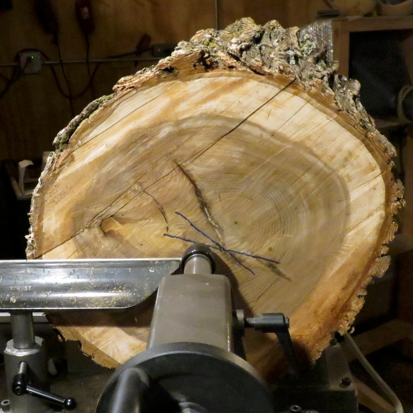 Elm Slab on the Lathe