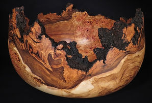 Spectacular aspen burl bowl turned by Lou Pignolet
