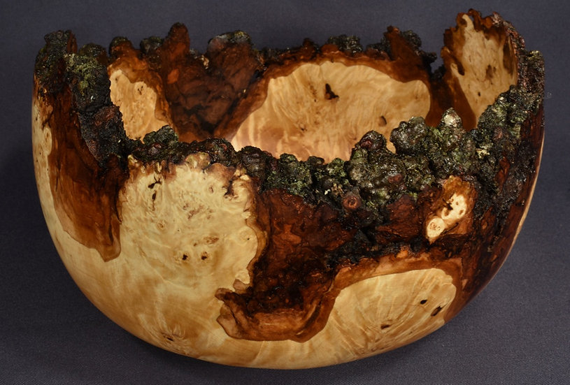 Spalted Flaming Birch Burl Bowl (18SF15 = SC338) SOLD