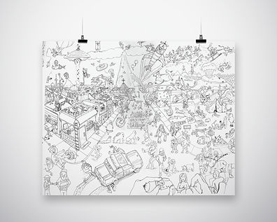 hand drawn, cartoon, where's waldo artwork