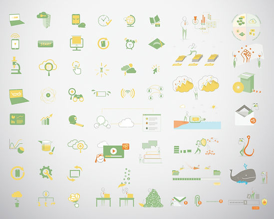 illustration and icon design for tech company