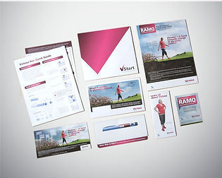 Print design samples - direct mail, sales aid, sell sheet, flash card