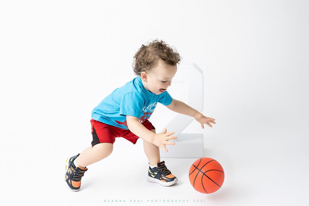 two year old boy birthday session milestone photo studio