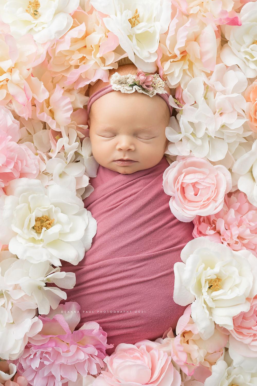 newborn girl flowers pink