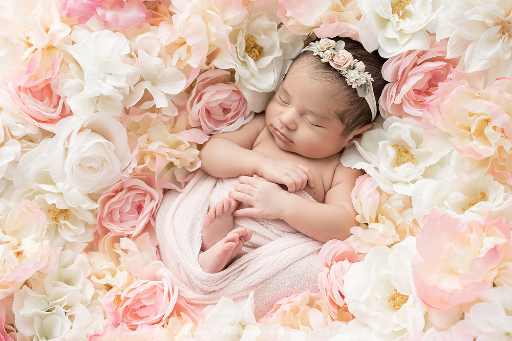 newborn baby girl in flowers pink and white