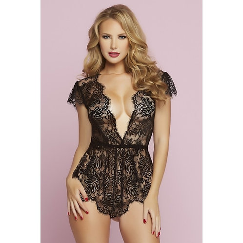 Plunging Black Eyelash Lace Romper in XL