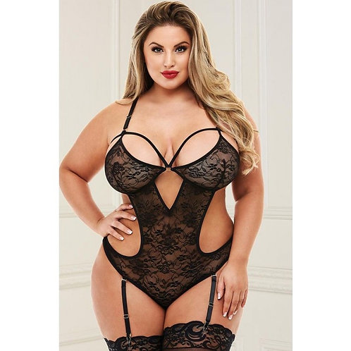 Sexy Black Lace Teddy in OSXL