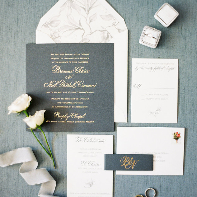 Gray and Gold Foil Invitation Suite