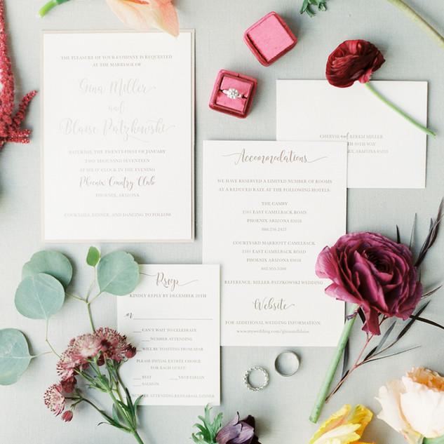 Letterpress Pocket Invitation Suite