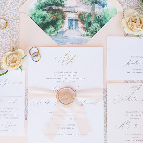 Blush Watercolor Wedding Invitation Suite