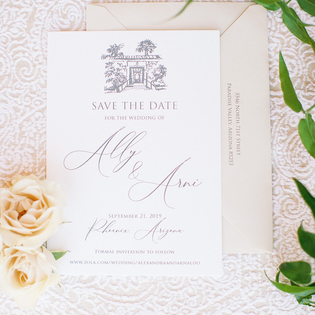 Neutral-Toned Royal Palms Save The Date