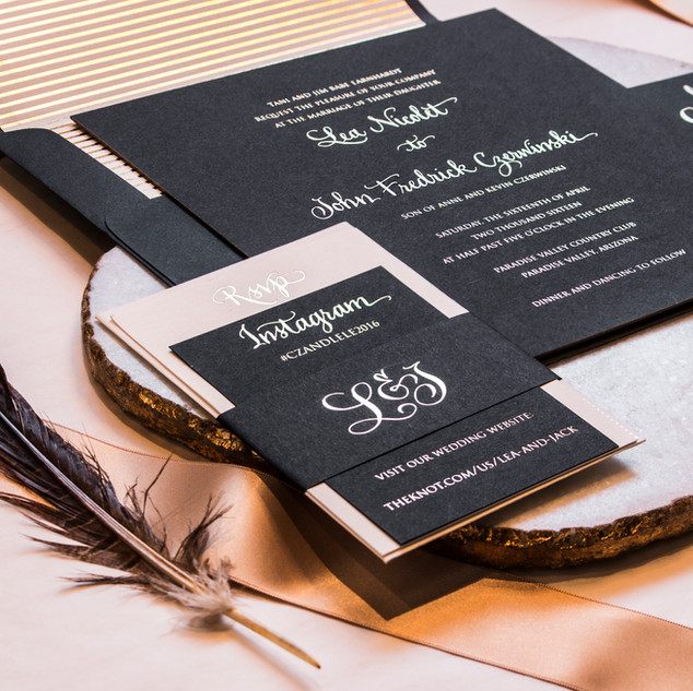 Black & Gold Foil Invitation Suite