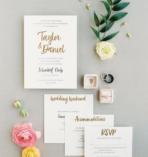 Letterpress and Gold Foil Invitation Suite