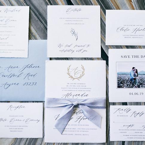 Elegant Blue Invitation Suite