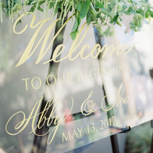 Acrylic Gold Welcome Sign