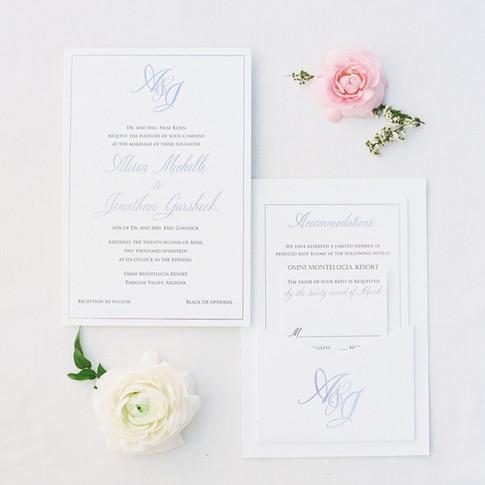 Letterpress Rose Gold Invitation Suite