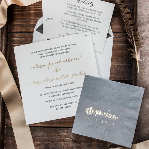 Letterpress Gold Invitation Suite