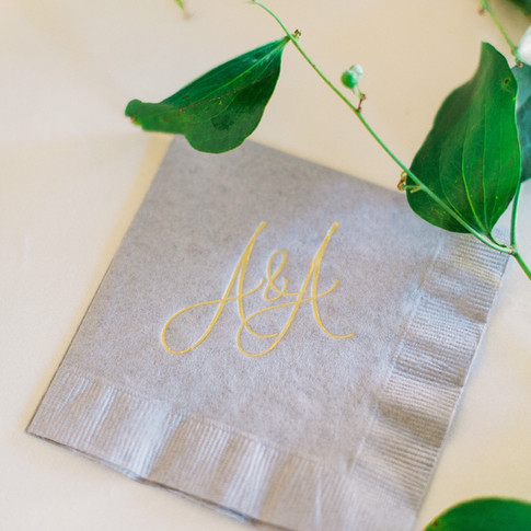 Gold Foil and Gray Initialed Napkins