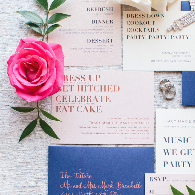 Rose Gold and Navy Invitation Suite
