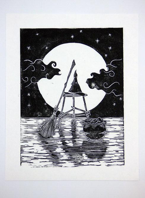 Witchy Nights Original Lino Print