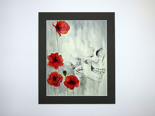 Skull and Poppy 8x10 print with mount