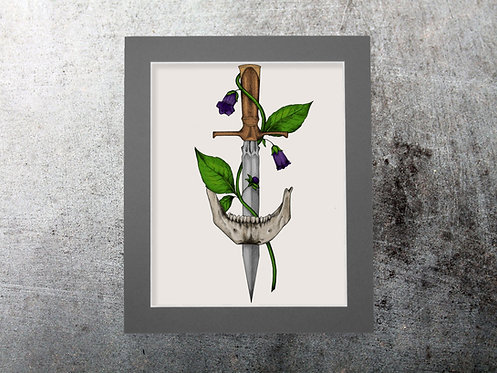 Coloured Bella's Dagger 8x10 print with mount
