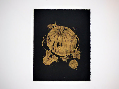 Pumpkin Patch Lino Print