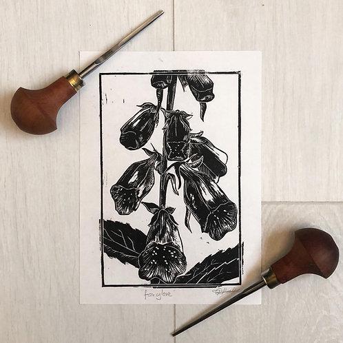Foxglove Linoprint