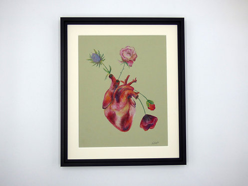 Anatomical heart original oil pastel drawing