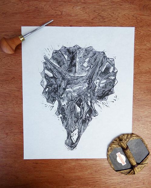 Triceratops Skull Lino Print