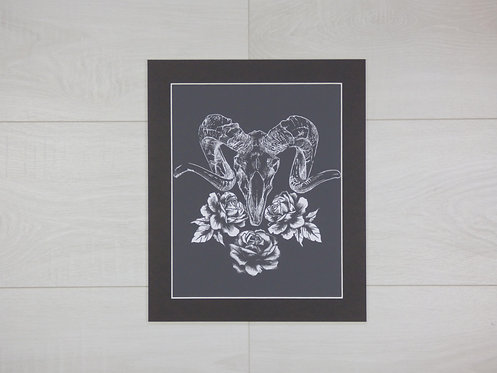 Ram Skull and Roses print with grey mount