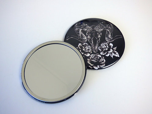 Ramskull and Roses Gothic Pocket Mirror