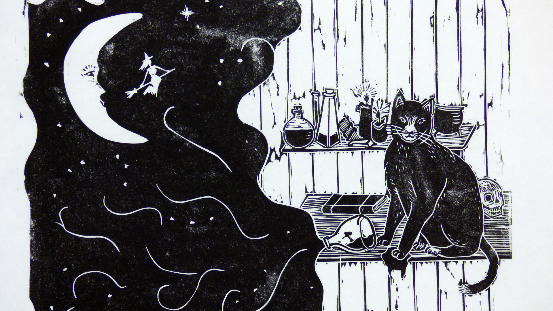 Witches Cat Lino Print