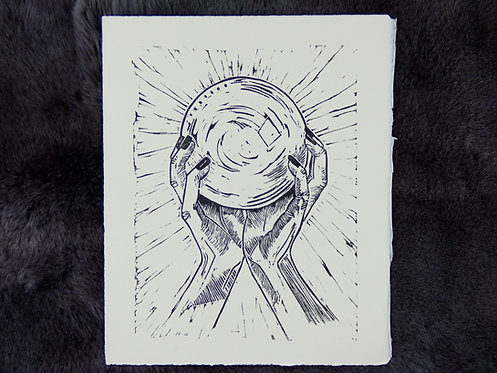 Crystal Ball Lino Print