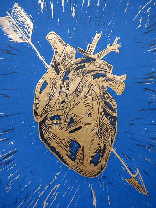 Heart Of Gold-2 layer lino print