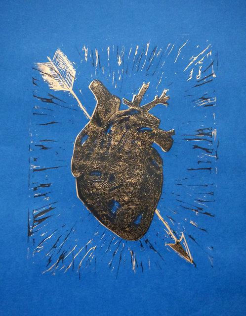 Seconds: Heart Of Bronze- 2 layer lino print