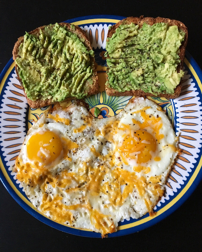 Ezekiel toast, avo & eggs