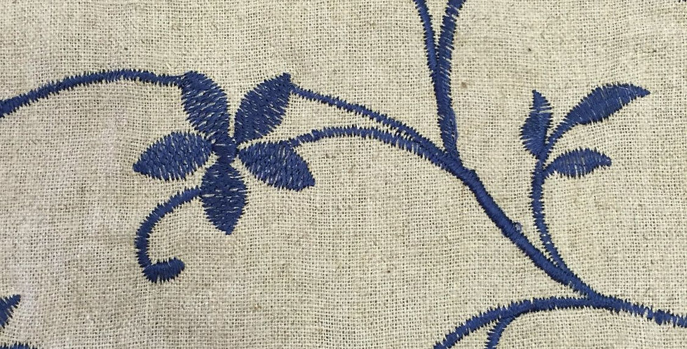 Navy - Embroidered - Vining Floral