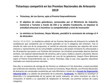 Tictactoys finalista en los Premios Nacionales de Artesanía 2019