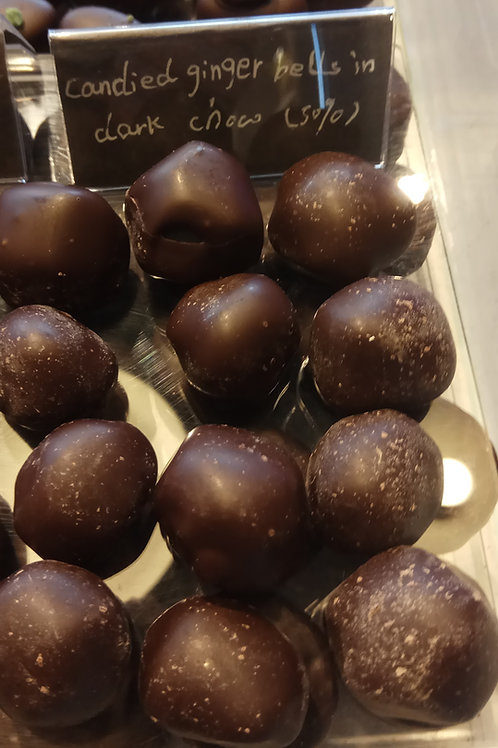 Dark chocolate covered ginger round pieces