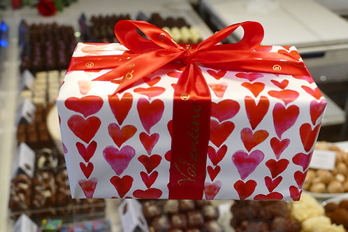 Box of Belgian chocolates with wrapping