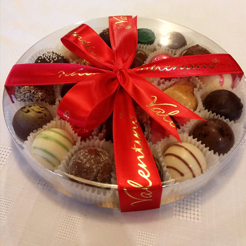 Round box with approx 23 chocolates
