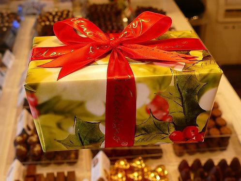 Box of Belgian chocolates with seasonal wrapping