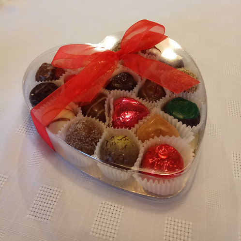 Clear heart box with 12 chocolates