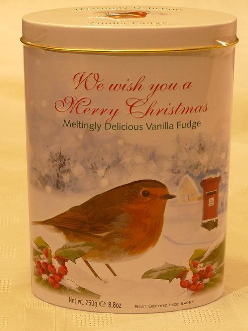 Christmas tin of fudge with Robin  250g