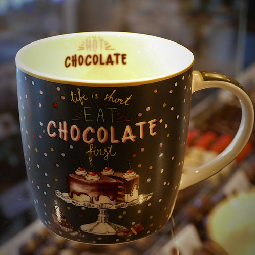 'Life is Short Eat chocolate First' mug . fine china