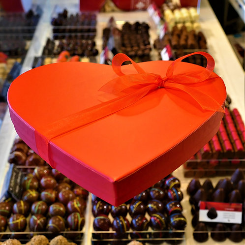 Red Heart Box filled with 20 Belgian Chocolates