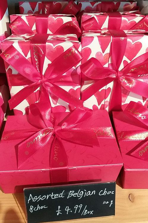 8 Assorted Belgian chocolates in box