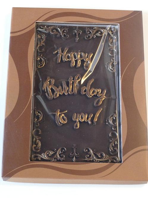 Dark chocolate Happy Birthday Tablet